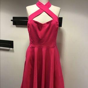 Hot pink Unique Vintage halter swing dress